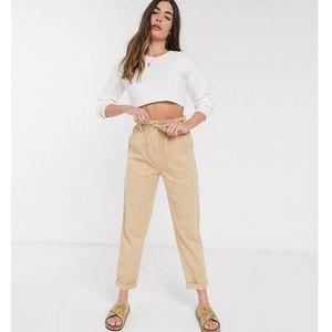 Topshop paper bag khaki tan pants new with belt ti
